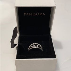 Silver Pandora Princess Heart Crown Ring